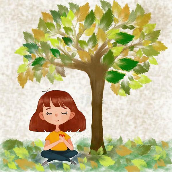 دختری که زیر درخت نشسته است